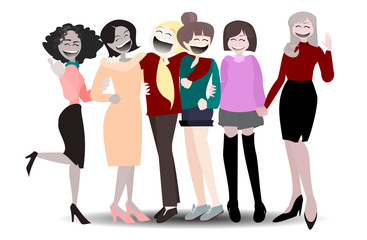 Happy International  Woman Day. Lady cartoon character  on isolated background.