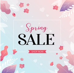 Spring sale background withcolorful flowers. Vector illustration.