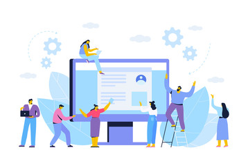 Business concept. Partnership. Team working, cooperation. Vector illustration in flat design style.