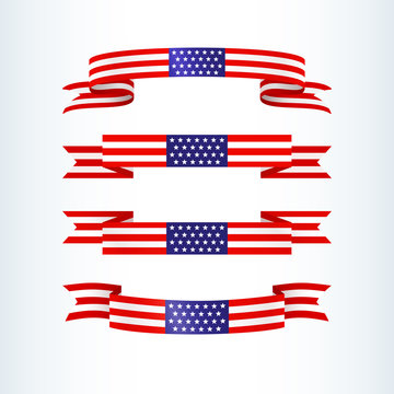 American flag ribbon stars stripes Patriotic American theme USA flag of a wavy ribbon shape icon Design element for Independence Day President's Day Memorial Day Patriotic set tape Vector wavy ribbon