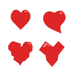 Heart vector red color