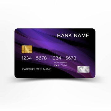 Mix purple and black colour credit card  design.  On white background. Vector illustration. Glossy plastic style EPS10.