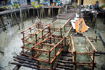 cages with a net for catching fish and crabs.