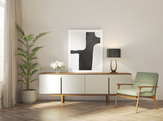 Contemporary Parisian interior with frame and white buffet - This is a 3d rendering! The art print is created by me