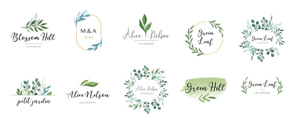 Elegant logos, Wedding monograms, hand drawn elegant, delicate collection