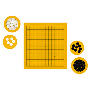 Vector illustration of empty goban and bowls with stones