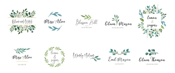 Elegant logos, Wedding monograms, hand drawn elegant, delicate collection Wall mural