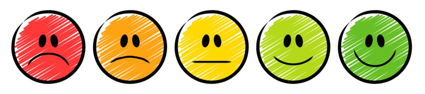 5 farbige Ampel-Smileys mit einer Emotions-Skala von traurig bis lächelnd / Schraffierte Vektor-Zeichnung