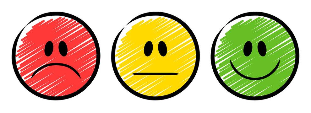3 Ampel-Smileys in rot, gelb und grün – traurig, neutral und lächelnd / Schraffierte Vektor-Zeichnung