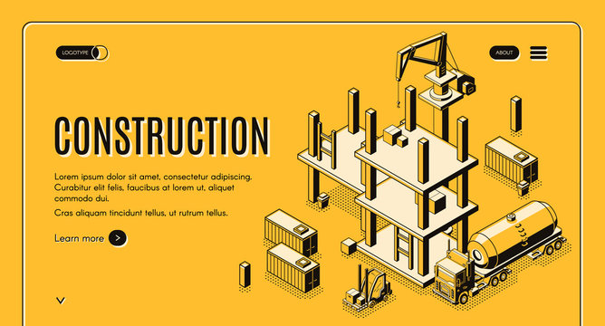 Construction company isometric vector web banner with tank truck, forklift carrying cargo and tower crane working on construction site line art illustration. Investment project landing page template