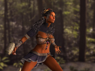 Black woman warrior with hammer in hand. 3D rendering.