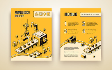 Metallurgical industry company, steel and alloys production, iron ore processing factory isometric vector annual report, promo brochure template. Melted metal pouring in molds on conveyor illustration