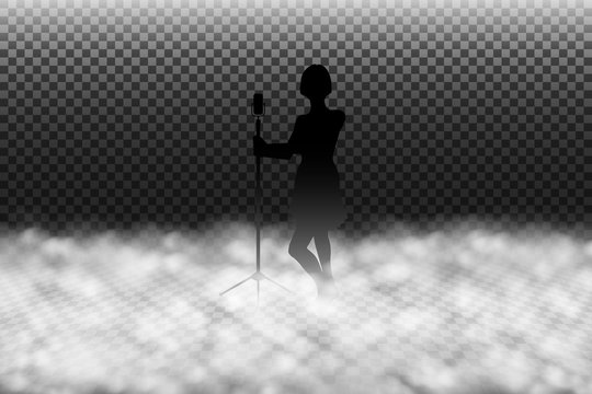 Fog machine effect vector illustration, scenic smoke or stage fog realistic special effect isolated on transparency background, women singer silhouette on a fogged stage