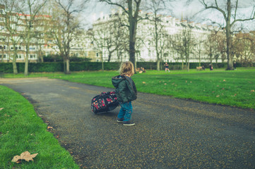 Little toddler pulling suitcase in the park