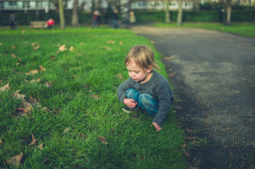 Little toddler on the grass in a park