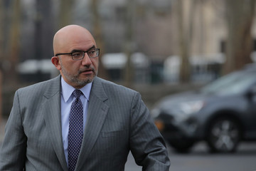 """Attorney for Joaquin Guzman, the Mexican drug lord known as """"El Chapo"""", Eduardo Balarezo arrives at the Brooklyn Federal Courthouse, for the trial of Guzman in the Brooklyn borough of New York"""