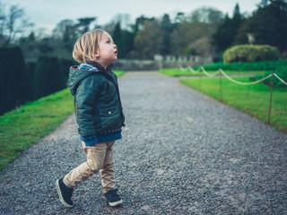 Little toddler in a formal garden