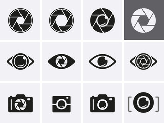 Camera Shutter, Lenses and Photo Camera Icons set.