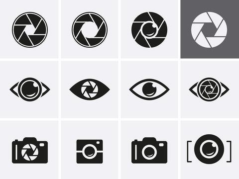 Camera Shutter, Lenses and Photo Camera Icons set.
