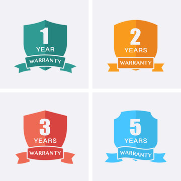 1, 2, 3 and 5 years Warranty Icons isolated on Shield Medal.