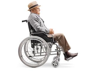 Elderly man sitting in a wheelchair
