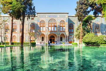Beautiful view of the Golestan Palace and scenic pond, Tehran