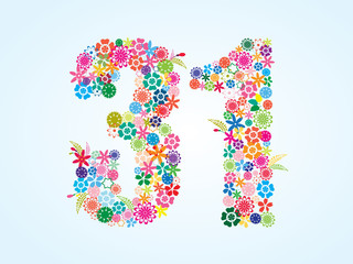 Vector Colorful Floral 31 Number Design isolated on white background. Floral Number Thirty One Vector Typeface.