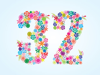 Vector Colorful Floral 32 Number Design isolated on white background. Floral Number Thirty Two Vector Typeface.