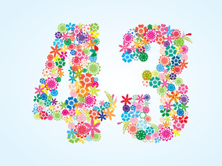 Vector Colorful Floral 43 Number Design isolated on white background. Floral Number Forty Three Vector Typeface.