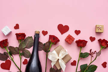 Let us celebrate! Set of red roses, champagne, gift boxes and hearts