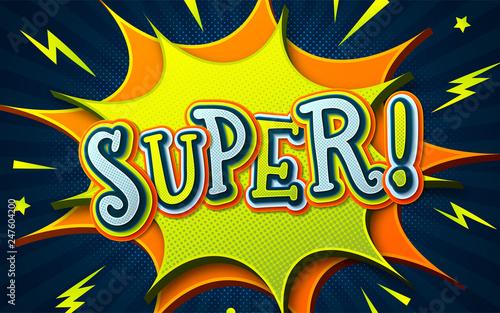 Comic book background with speech bubble Super  Cartoon