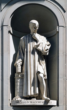 Niccolo Machiavelli in the Niches of the Uffizi Colonnade in Florence, Italy.