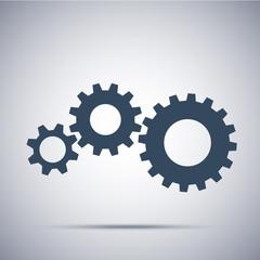 cogwheels icon. Flat design vector element. Technical illustration of gears
