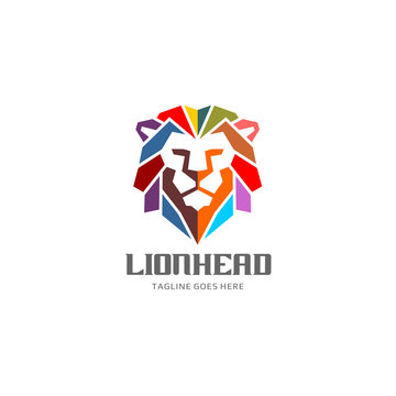 Colorful Lion Head Logo Vector Template