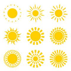 Set of yellow sun icon symbols isolated on white