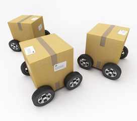 Cardboard boxes on wheels