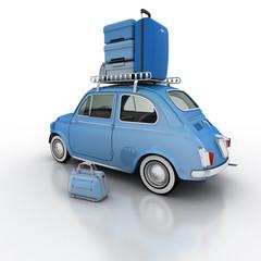 Compact car on holidays blue