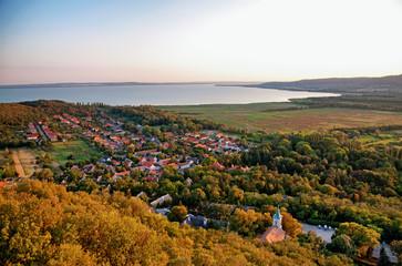 Lake Balaton in sunset ,Hungary ( Szigliget )