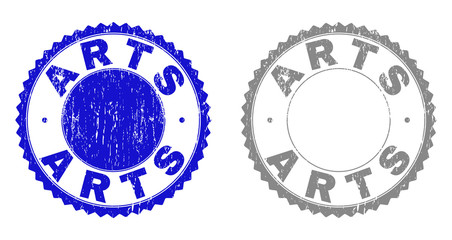 Grunge ARTS stamp seals isolated on a white background. Rosette seals with distress texture in blue and gray colors. Vector rubber imitation of ARTS label inside round rosette.