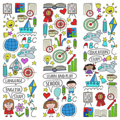 Vector set of learning English language, children's drawing icons in doodle style. Painted, colorful, pictures on a piece of paper on white background.