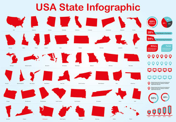 USA All State Map with Set of Infographic Elements in Red Color in Light Background. Modern Information Graphics Element for your design.