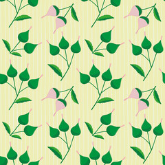 Hand drawn pink and green flower buds on a subtly striped light yellow background. Fresh seamless vector pattern with summer vibe, perfect for stationery, textiles, home decor, packaging