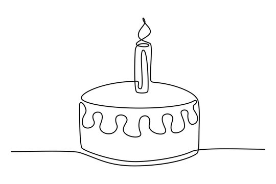 Continuous line drawing. Birthday cake with candle. Symbol of celebration. Black isolated on white background. Hand drawn illustration.