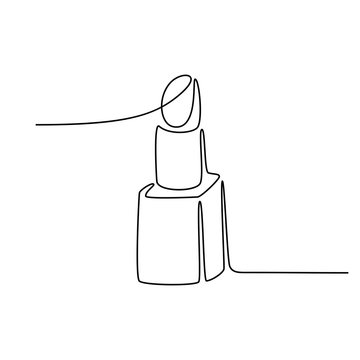 Continuous line drawing. Lipstick. Black isolated on white background. Hand drawn illustration.