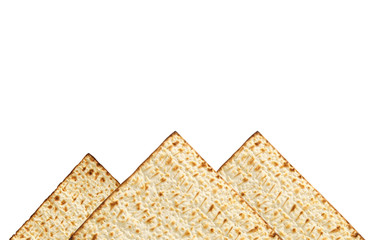 passover background with matzoh isolated on white as piramids.
