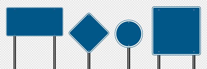 Symbol set sign road blue on transparent background
