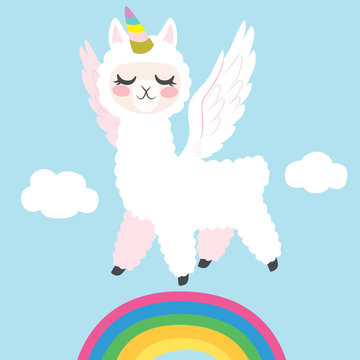 Llama Unicorn Flying