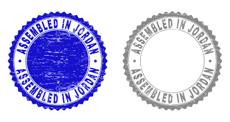 Grunge ASSEMBLED IN JORDAN stamp seals isolated on a white background. Rosette seals with grunge texture in blue and gray colors.