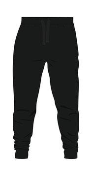 Black  tracksuit bottom. vector illustration