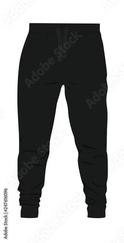 25958c7e483e Black tracksuit bottom. vector illustration